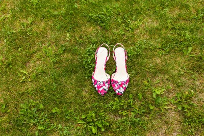 Pink shoes on the grass