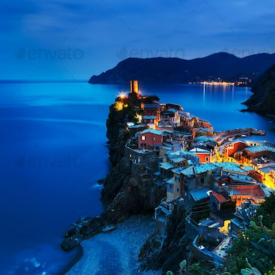 Vernazza village, aerial view on sunset.