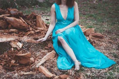 Lady With Blue Dress