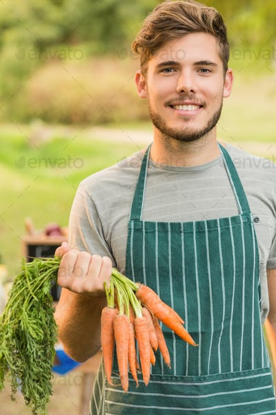 Handsome farmer holding carrots on a sunny day