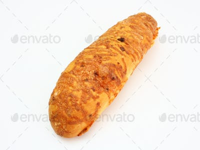 The ruddy long loaf of bread