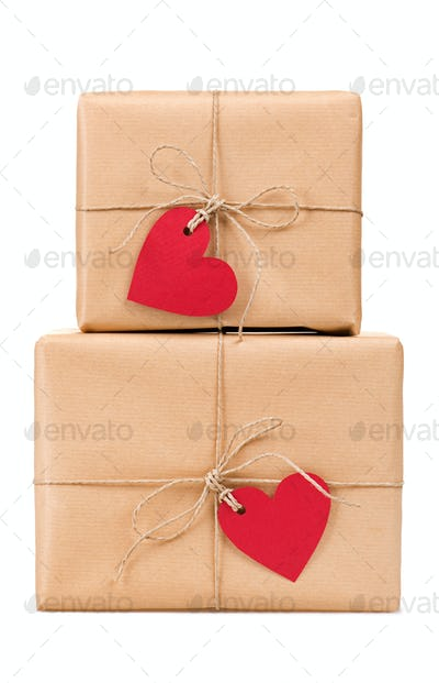 Gift boxes heart-shaped labels