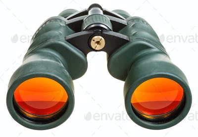 green binoculars with orange glasses isolated