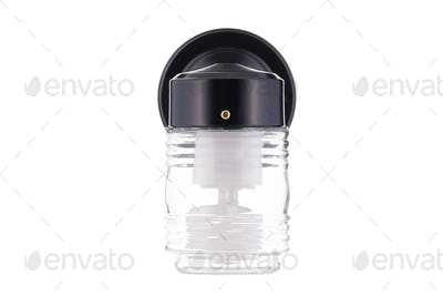 Simple black exterior light fixture isolated on white background