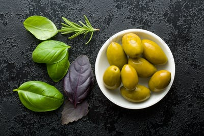 green olives and herbs