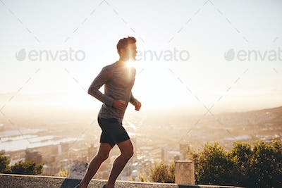 Young man on morning run