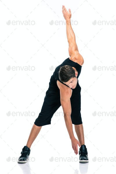 Fitness man doing exercises for warm up