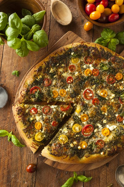 Homemade Grilled Pesto Pizza