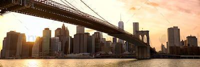 New York panorama at sunset