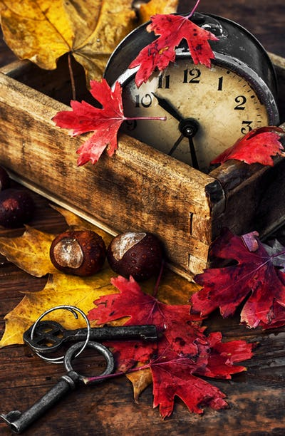 old alarm clock and  fallen autumn leaves