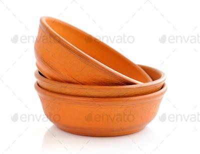 Ceramic bowls on white background
