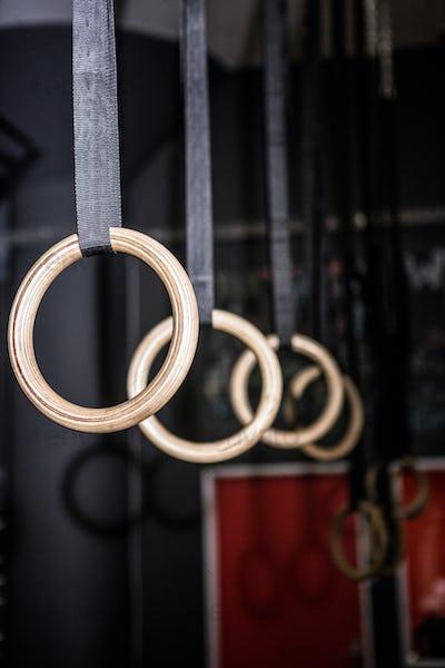 Gymnastic rings in the crossfit gym
