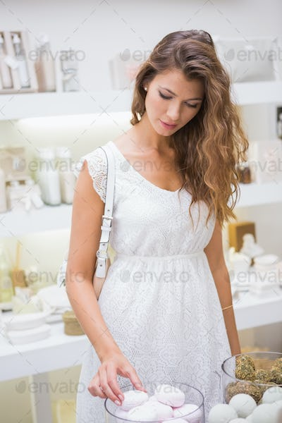 Woman testing soap at a beauty salon