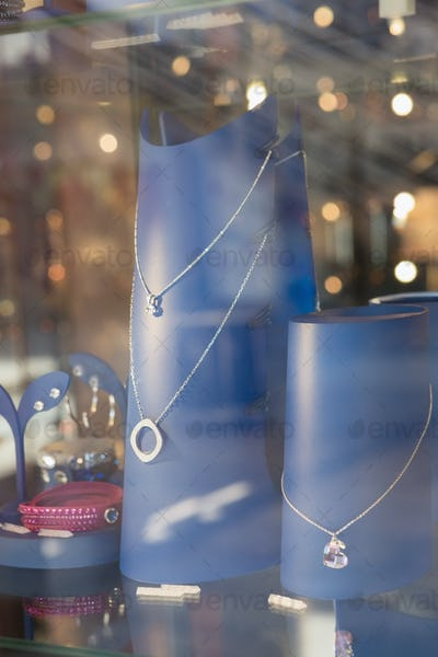 Necklace behind glass in a store