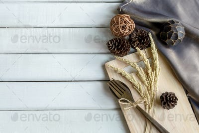 Decoration Seasonal table setting with wooden spoon and fork