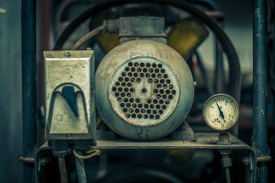 Close up shot of old air compressor