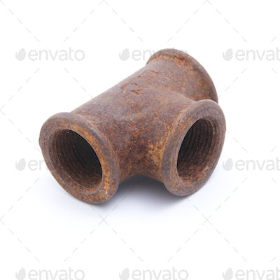 Old rusty water pipes adapter.