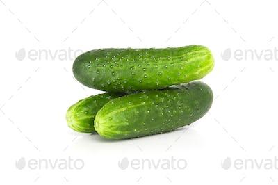 Three fresh cucumbers on a white background.