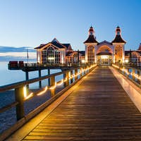 Pier with restaurant in Sellin, Baltic Sea, Germany