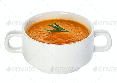 Pumpkin soup isolated on white background