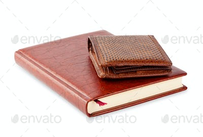Diary and brown leather purse