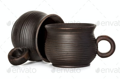clay cups, mugs isolated on white background