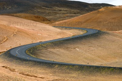 Winding road in Iceland