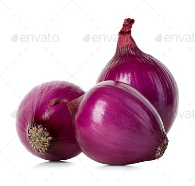 Red onions isolated.