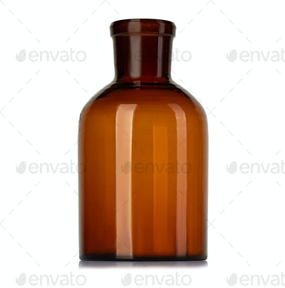 Old pharmacy bottle for medicines isolated on white background