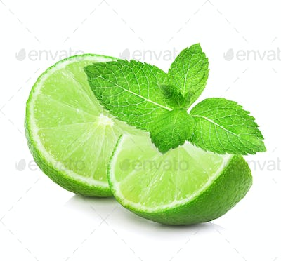 Lime and mint isolated on a white background