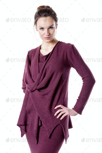 Woman wearing burgundy clothes
