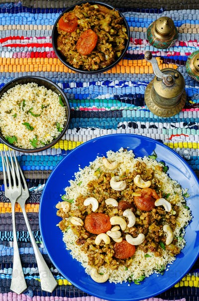 Spiced mince with dried apricots, cashew nuts and couscous