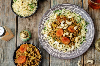 Spiced mince with dried apricots, cashew nuts and couscous. Moro