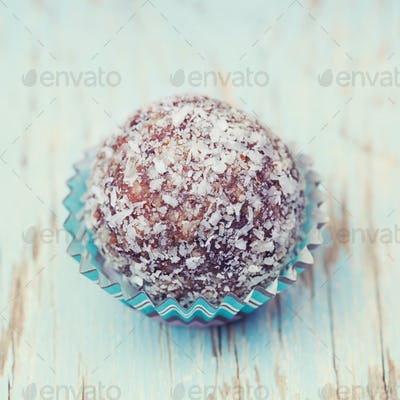 Arabian delicacy coconut snow ball made from moroccan dates, alm