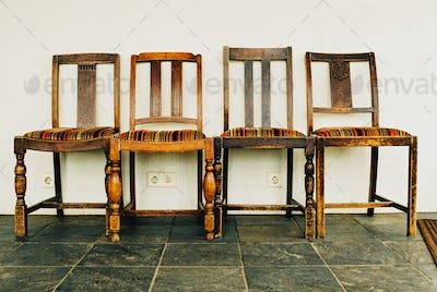 Four Striped Chairs