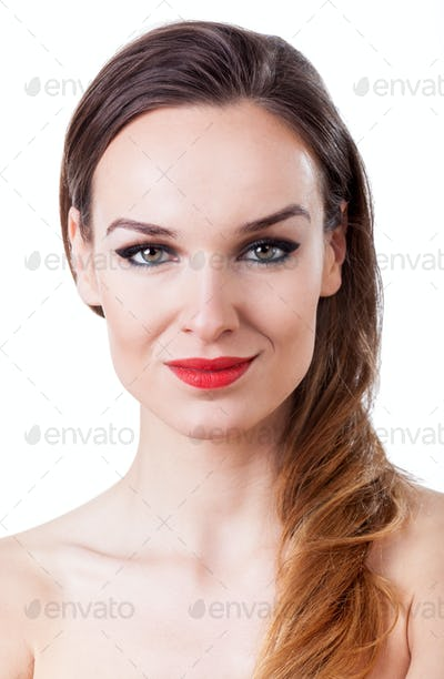 Attractive woman with long hair and red lips