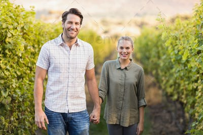 Two young happy vintners holding hands in the grape fields
