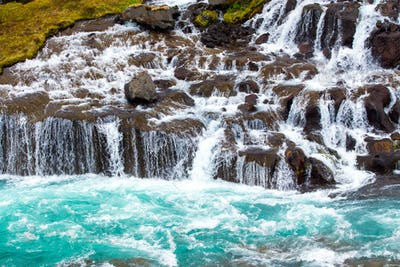 The beautiful Hraunfossar falls