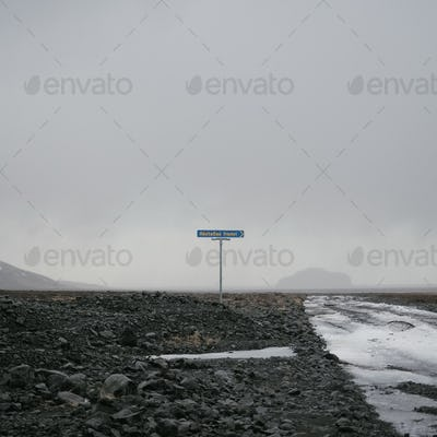 Road signs in the middle of nowhere in Iceland