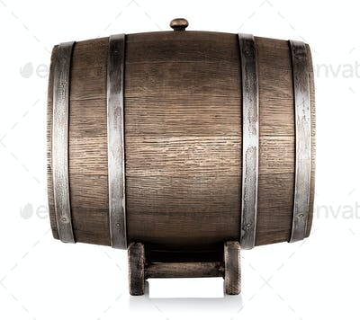 Old wooden barrel on stand