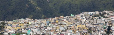 Aerial view of Quito and the residential areas