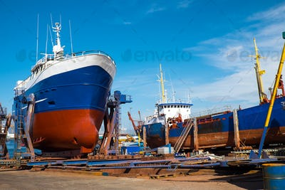 Trawlers at the dry dock