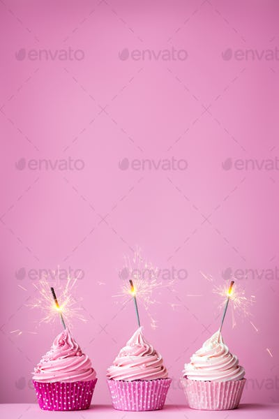 Pink cupcakes with sparklers
