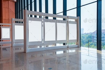 blank panel in exhibition hall