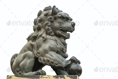 copper lion statue isolated
