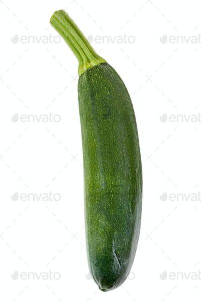 Single zucchini on white background