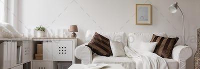 Comfortable white double sofa
