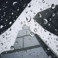 Tail Buildings Seen Through Wet Umbrella