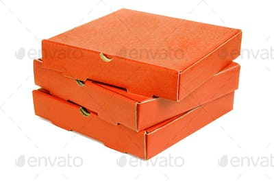 Stack of three pizza takeaway boxes