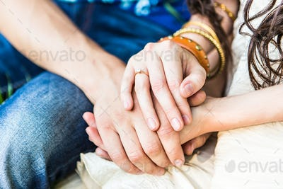 two pairs of hand touch